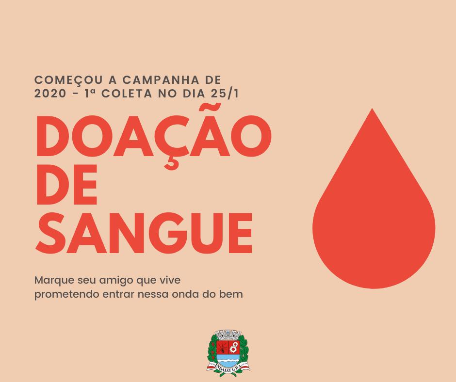 Doações de sangue têm início no dia 25 de janeiro