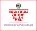 Próxima sessão ordinária será no dia 22 de abril